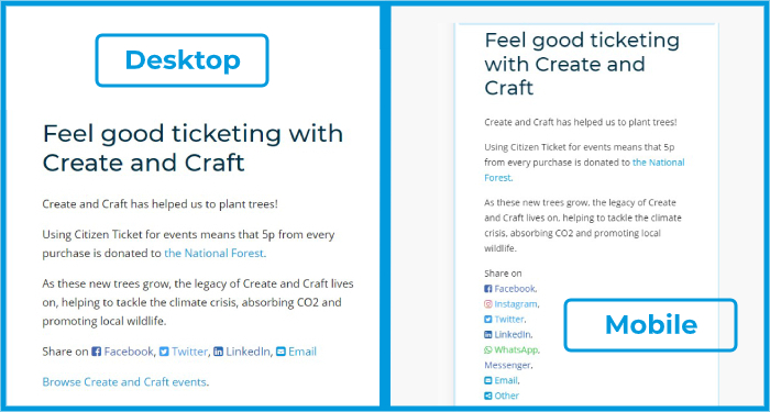 Citizen Ticket - Tickets For Trees - desktop mobile sharing